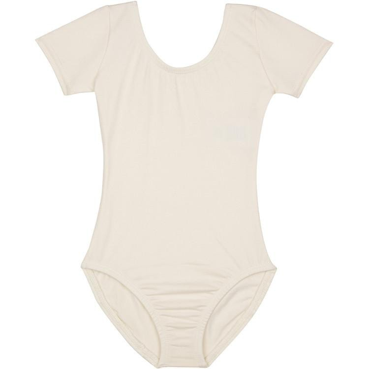Ivory Cream LINED Short Sleeve Leotard for Flower Girls