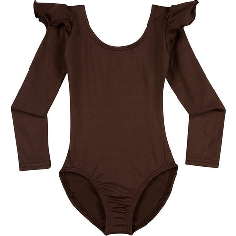 Infant, Toddler and Girls Cute Brown Long Sleeve Leotard with Ruffle Shoulder