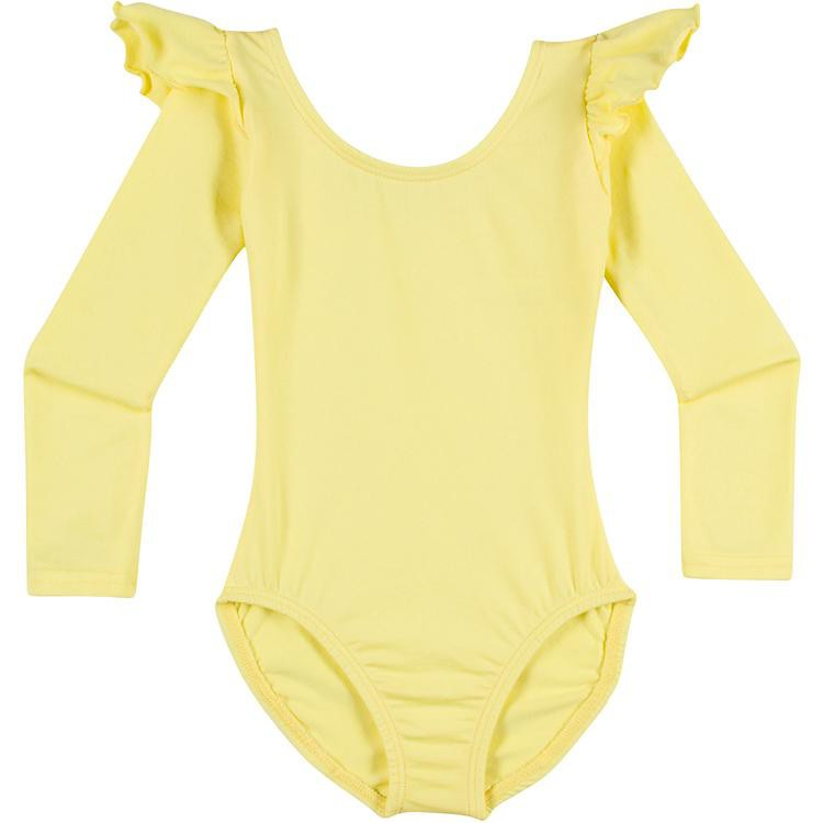 Infant, Toddler and Girls Cute Yellow Long Sleeve Leotard with Ruffle Shoulder