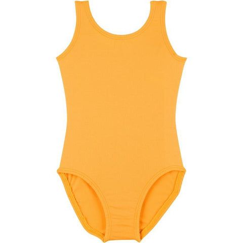 Infant, Toddler and Girls Mustard Gold Sleeveless Tank Dance Leotard