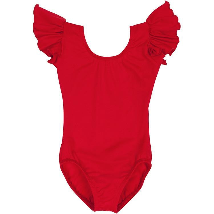 Red Toddler & Girls Flutter/Ruffle Short Sleeve Leotard