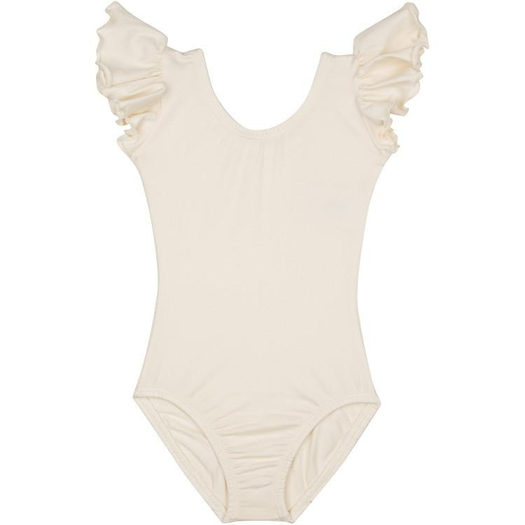 Lined Ivory Cream Leotard with Flutter/Ruffle Short Sleeve for Toddler & Girls