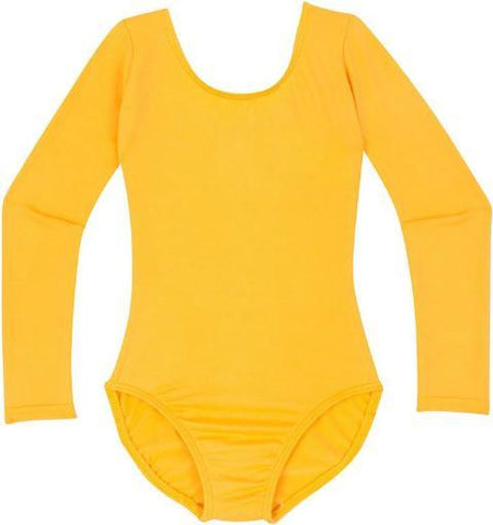 Gold Yellow Long Sleeve Leotard