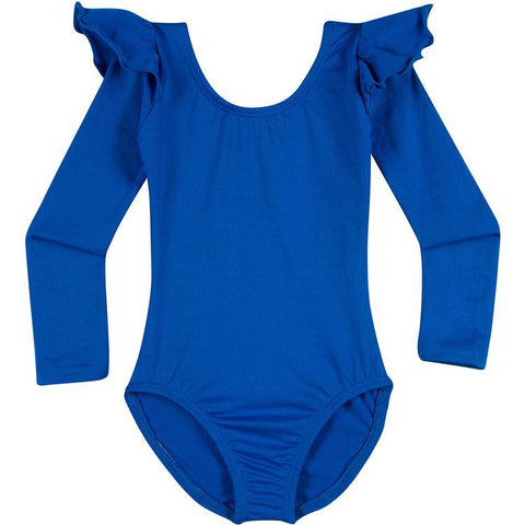 Infant, Toddler and Girls Cute Royal Blue Long Sleeve Leotard with Ruffle Shoulder