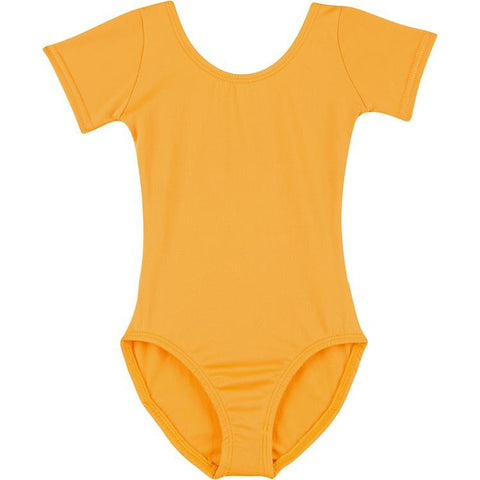Infant, Toddler and Girls Mustard Gold Short Sleeve Dance Leotard