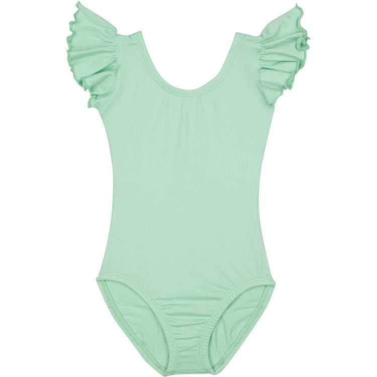 Mint Green Leotard with Flutter/Ruffle Short Sleeve for Toddler & Girls