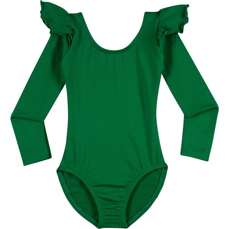 Infant, Toddler and Girls Cute Green Long Sleeve Leotard with Ruffle Shoulder