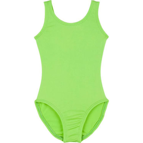 Infant, Toddler and Girls Lime Green Sleeveless Tank Dance Leotard