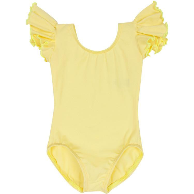 Yellow Leotard for Toddler & Girls - Ruffle/Flutter Short Sleeve
