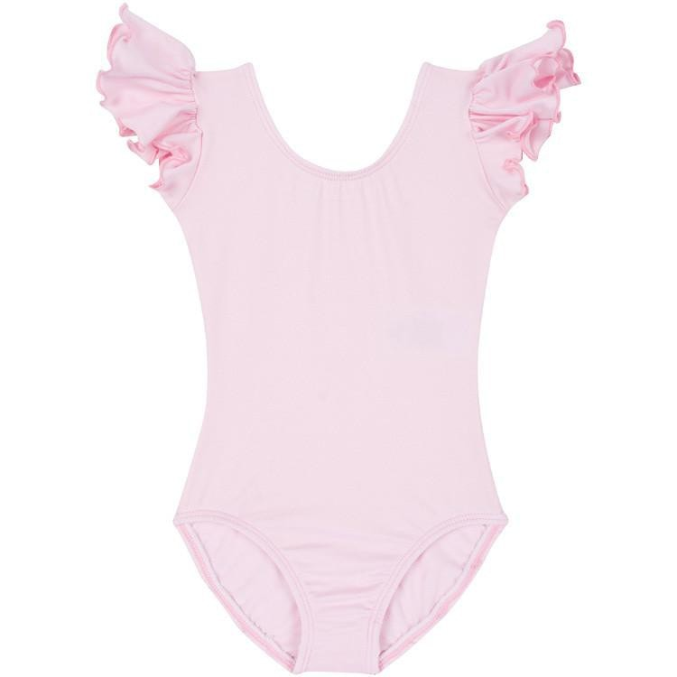 Light Pink Leotard with Flutter/Ruffle Short Sleeve for Toddler & Girls