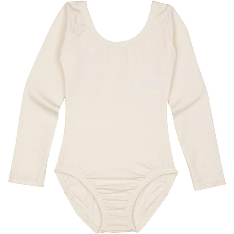 f463bc5380 LINED IVORY CREAM Long Sleeve Leotard for Toddler and Girls ...