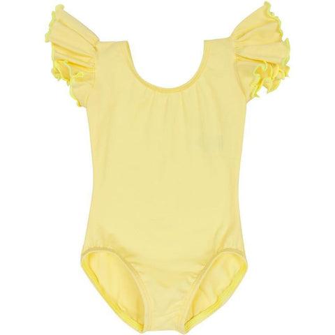 Yellow Short Sleeve Leotard for Toddler and Girls