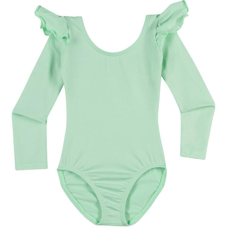Infant, Toddler and Girls Cute Mint Green Long Sleeve Leotard with Ruffle Shoulder
