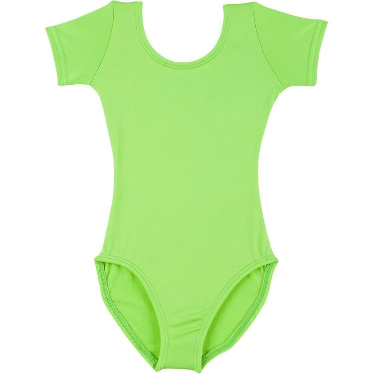 Infant, Toddler and Girls Lime Green Short Sleeve Dance Leotard