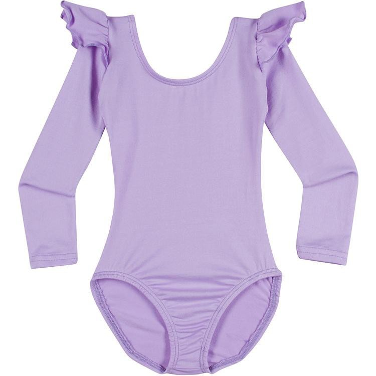 Infant, Toddler and Girls Cute Lilac Light Purple Long Sleeve Leotard with Ruffle Shoulder