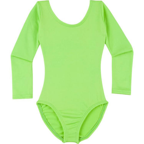 Infant, Toddler and Girls Lime Green Long Sleeve Dance Leotard