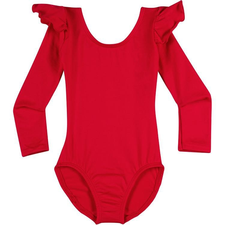 Infant, Toddler and Girls Cute Red Long Sleeve Leotard with Ruffle Shoulder