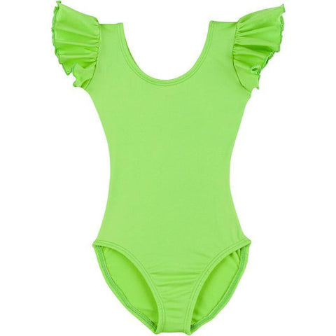 Infant, Toddler and Girls Lime Green Ruffle Dance Leotard