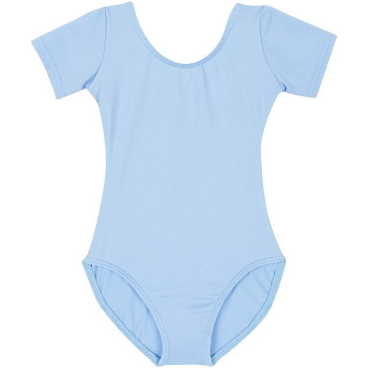 Light Blue Short Sleeve Leotard for Toddler & Girls