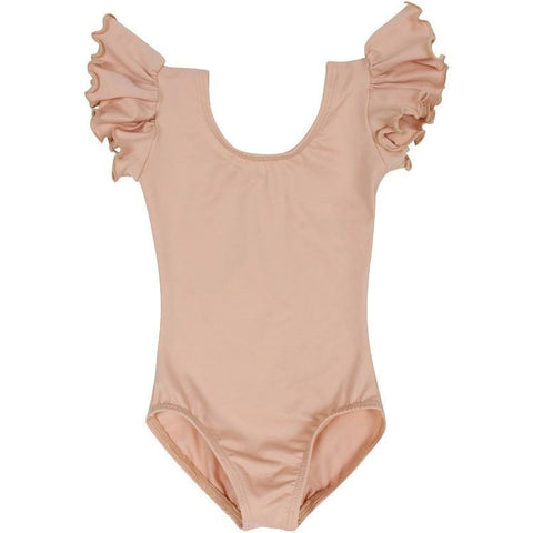 Nude Beige Ruffle Short Sleeve Leotard for Toddler and Girls