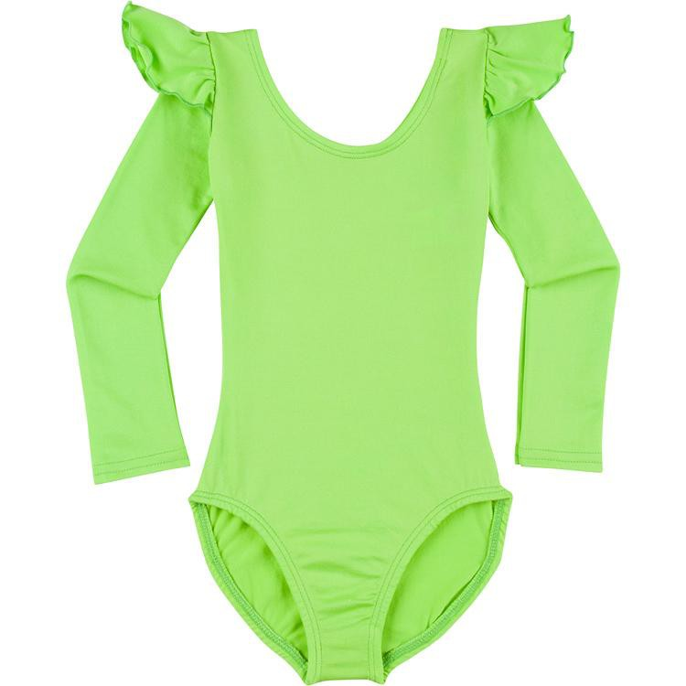 Infant, Toddler and Girls Lime Green Long Sleeve Ruffle Dance Leotard