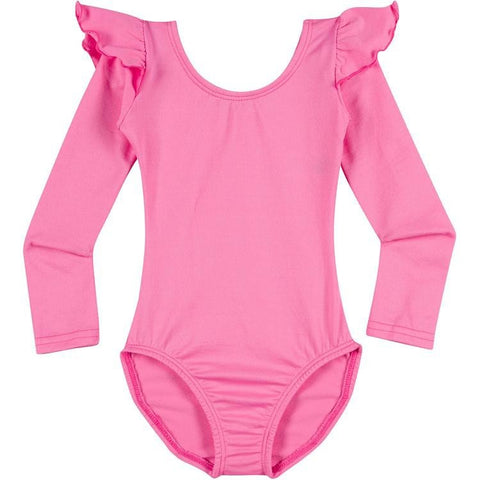 Infant, Toddler and Girls Cute Bright Hot Pink Long Sleeve Leotard with Ruffle Shoulder