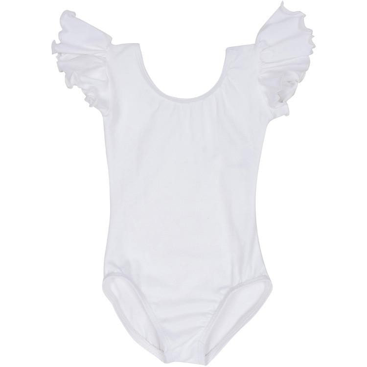White Lined Leotard with Flutter/Ruffle Short Sleeve for Toddlers & Girls
