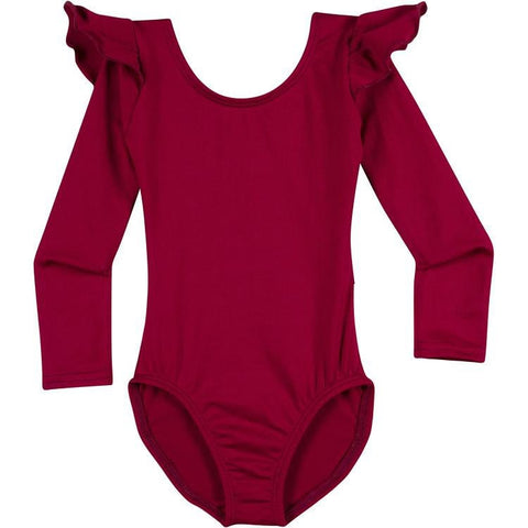 Infant, Toddler and Girls Cute Burgundy Dark Red Long Sleeve Leotard with Ruffle Shoulder