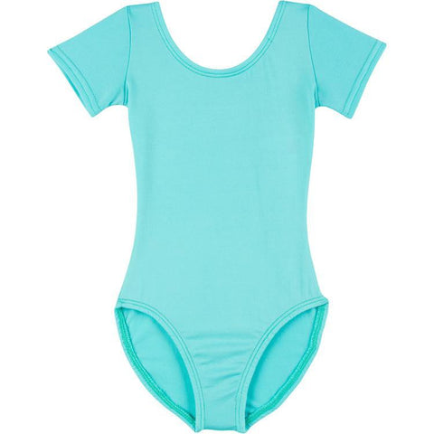 Infant, Toddler and Girls Frozen Turquoise Short Sleeve Dance Leotard