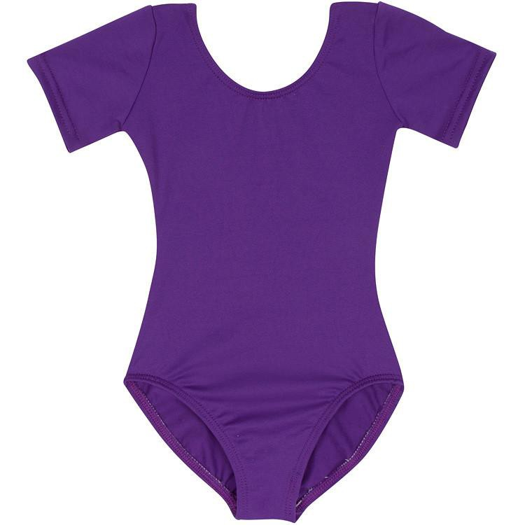 Purple Short Sleeve Leotard for Toddler and Girls