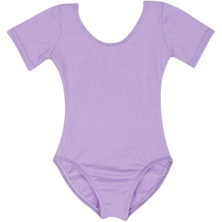 Lilac Purple Short Sleeve Leotard for Toddler & Girls
