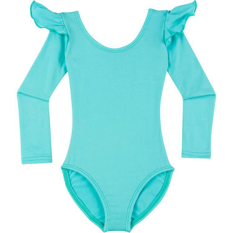 Infant, Toddler and Girls Frozen Turquoise Long Sleeve Ruffle Dance Leotard