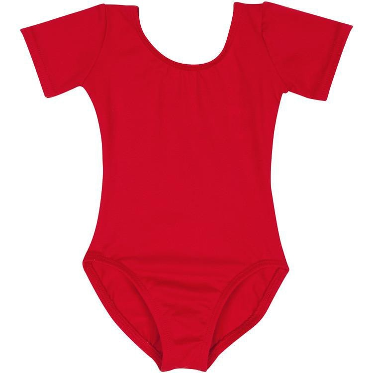 Short Sleeved Girls Red Leotard