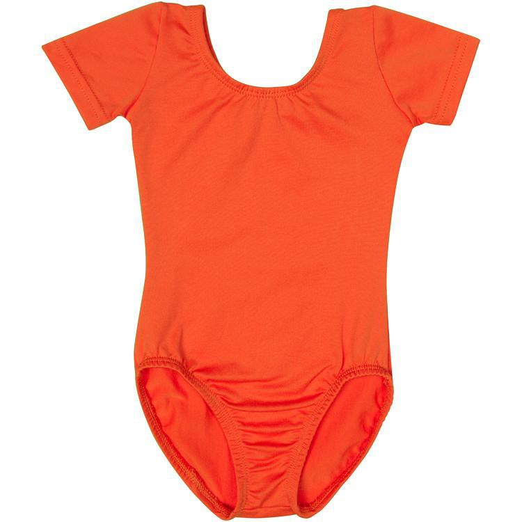 Orange Short Sleeve Leotard for Toddler and Girls