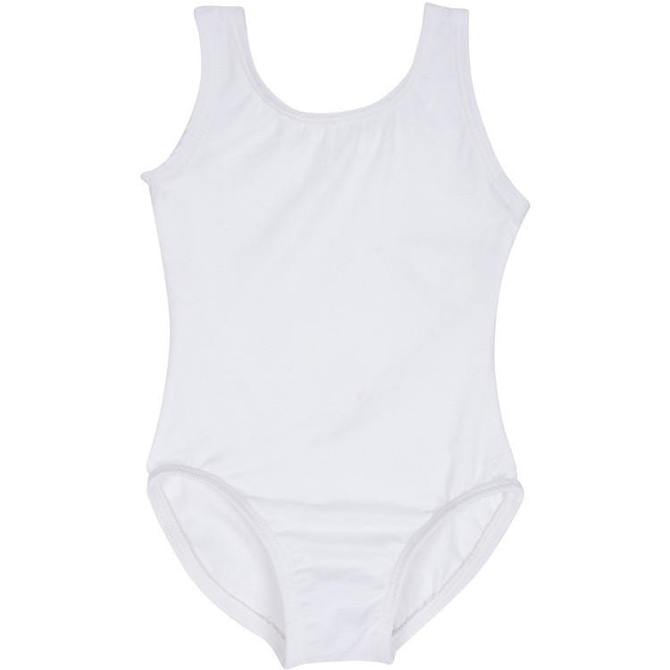 White Lined Toddler & Girls Ballet Tank Leotard