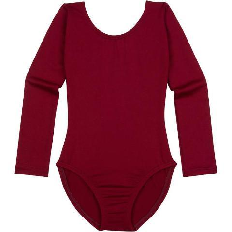 Burgundy Maroon Long Sleeve Girls Leotard