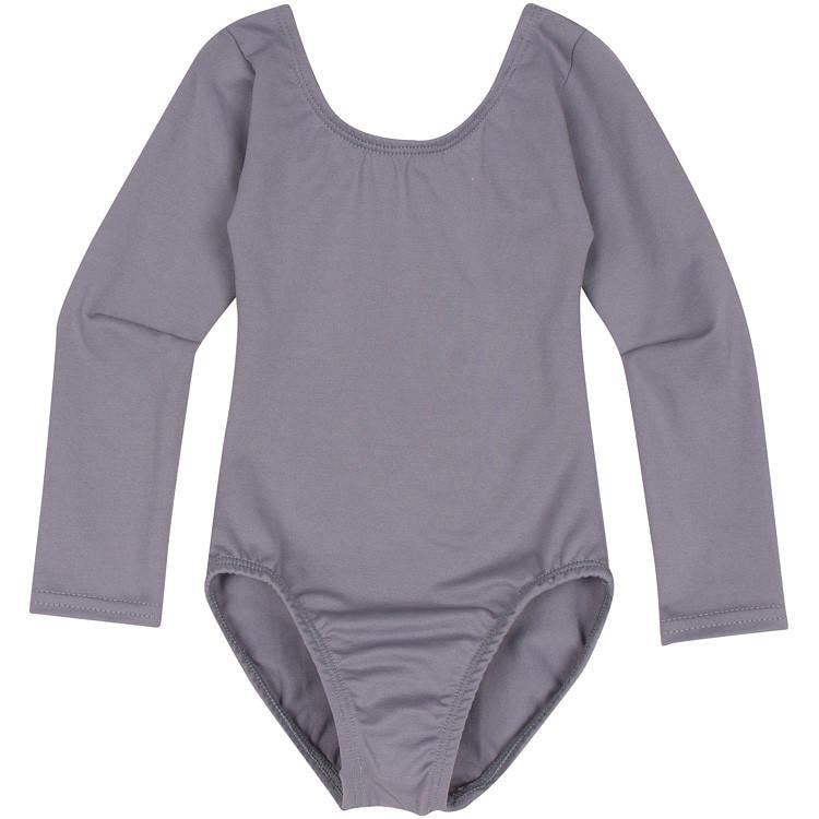Gray Grey Long Sleeve Leotard for Toddler and Girls