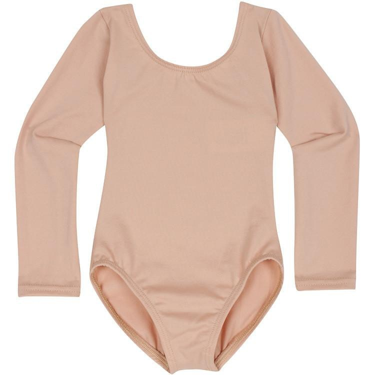 Nude Beige Long Sleeve Leotards for Toddler and Girls
