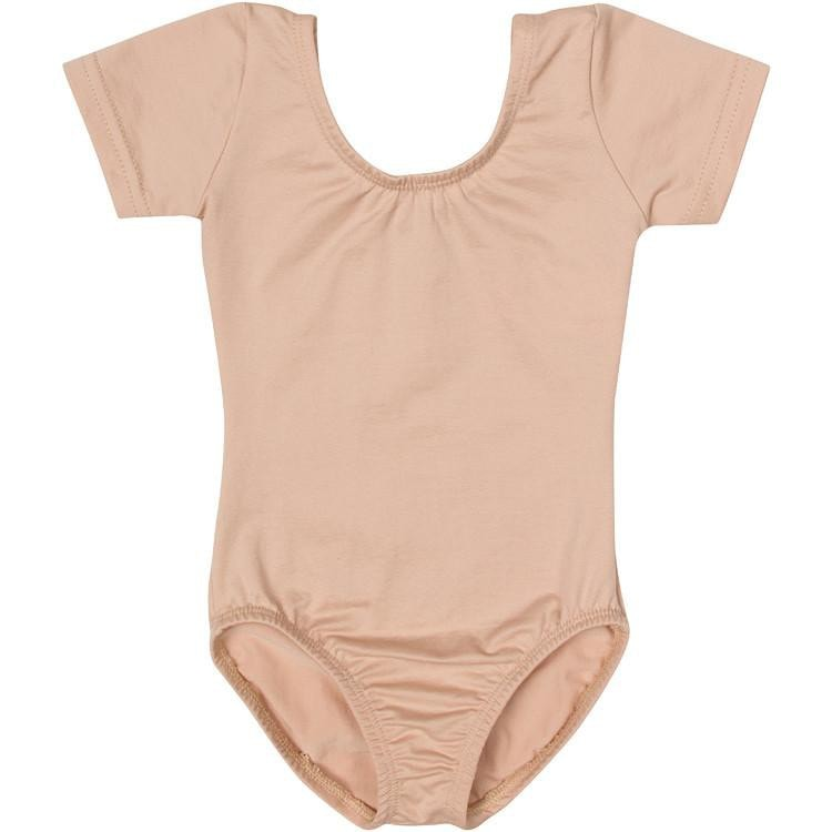 Nude/Beige Short Sleeve Leotard for Toddler & Girls