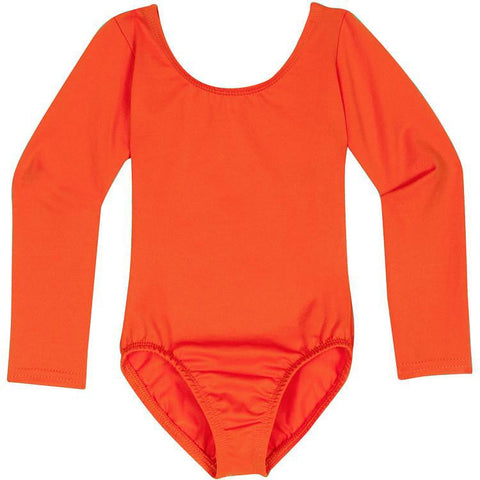Orange Long Sleeve Leotard for Toddler and Girls