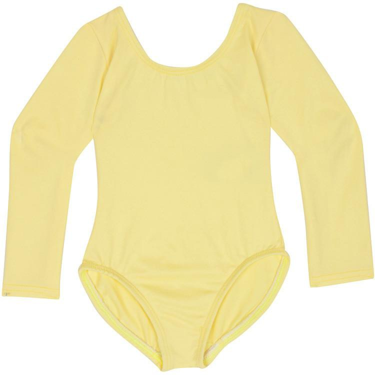 Yellow Girls Classic Long Sleeve Ballet Dance Leotard