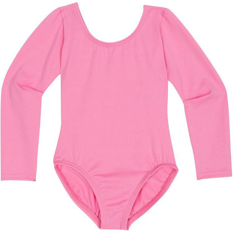 Bright Pink Long Sleeve Leotard for Toddler and Girls