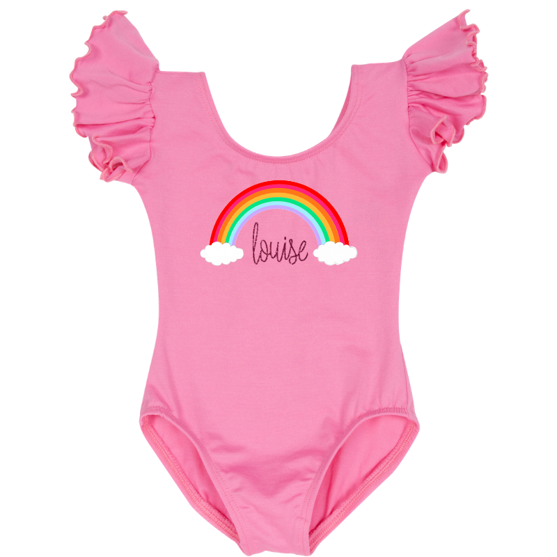 Pink Personalized Rainbow Leotard