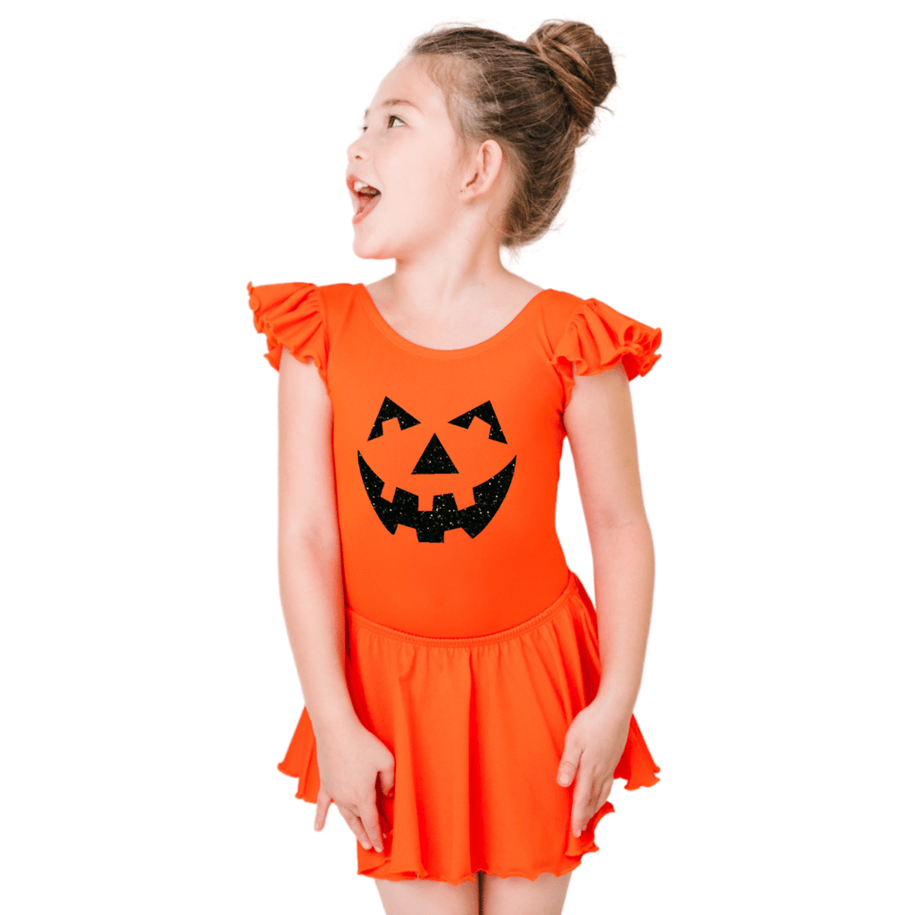 Pumpkin Halloween Costume Leotard for Girls and Toddlers