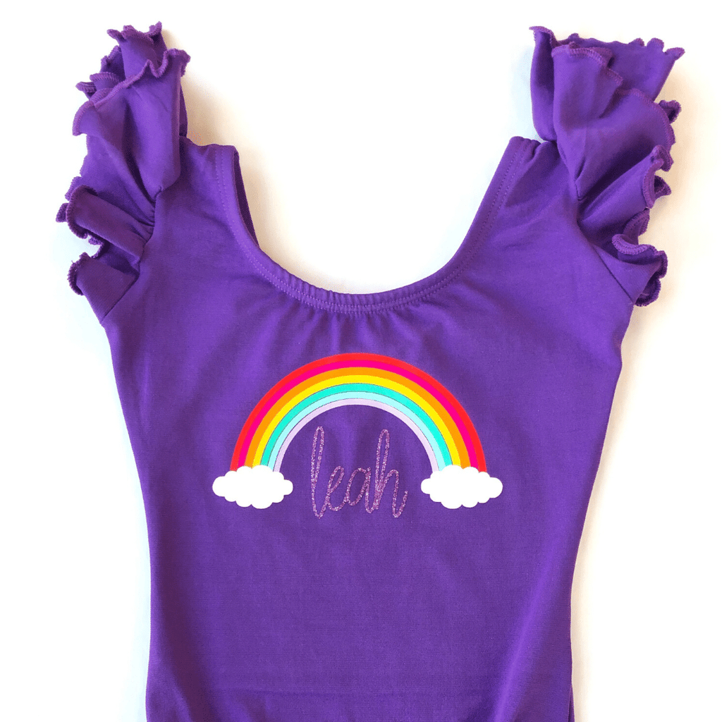 Purple with Rainbow Personalized Name Dance Leotard for Girls and Toddlers
