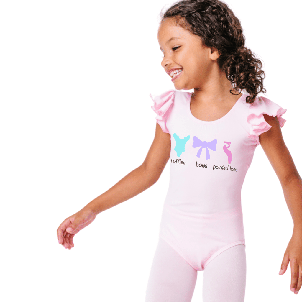 Ruffles Bows and Pointed Toes Dance Leotard for Girls and Toddlers
