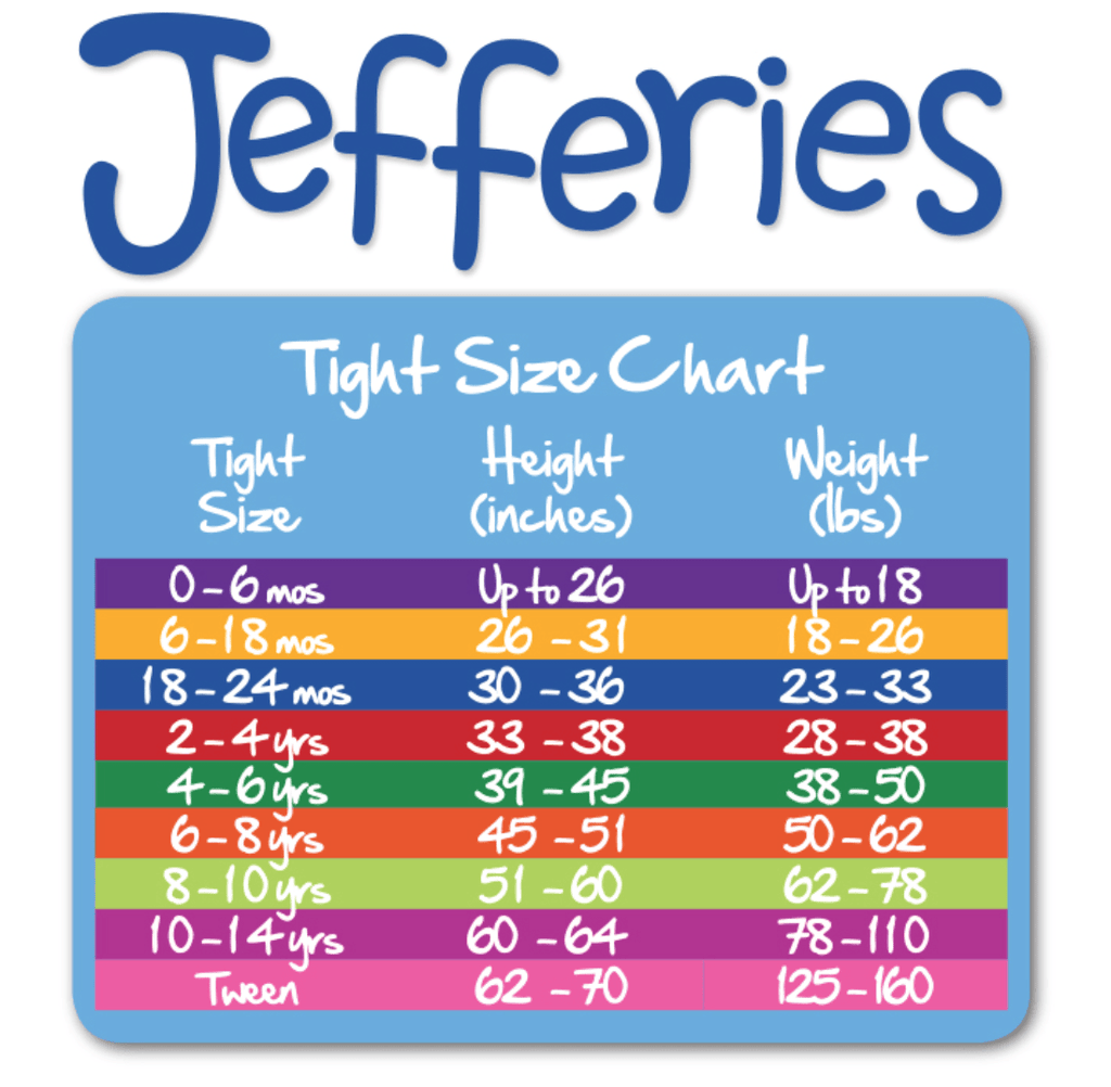 Jefferies Girls Tights Size Chart