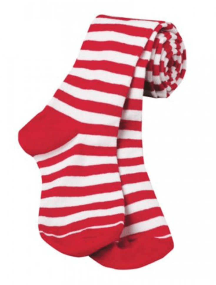 Girls Red White Stripe Christmas Tights