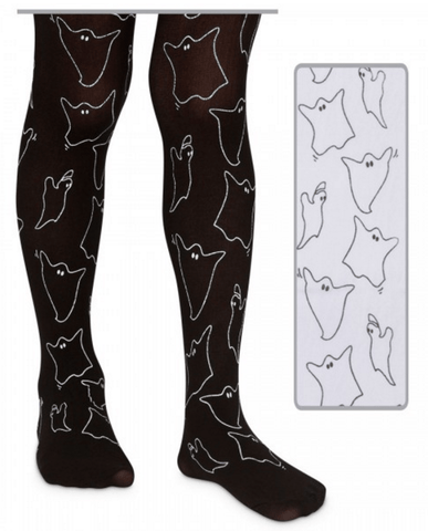 Jefferies White Ghost Printed Halloween Tights
