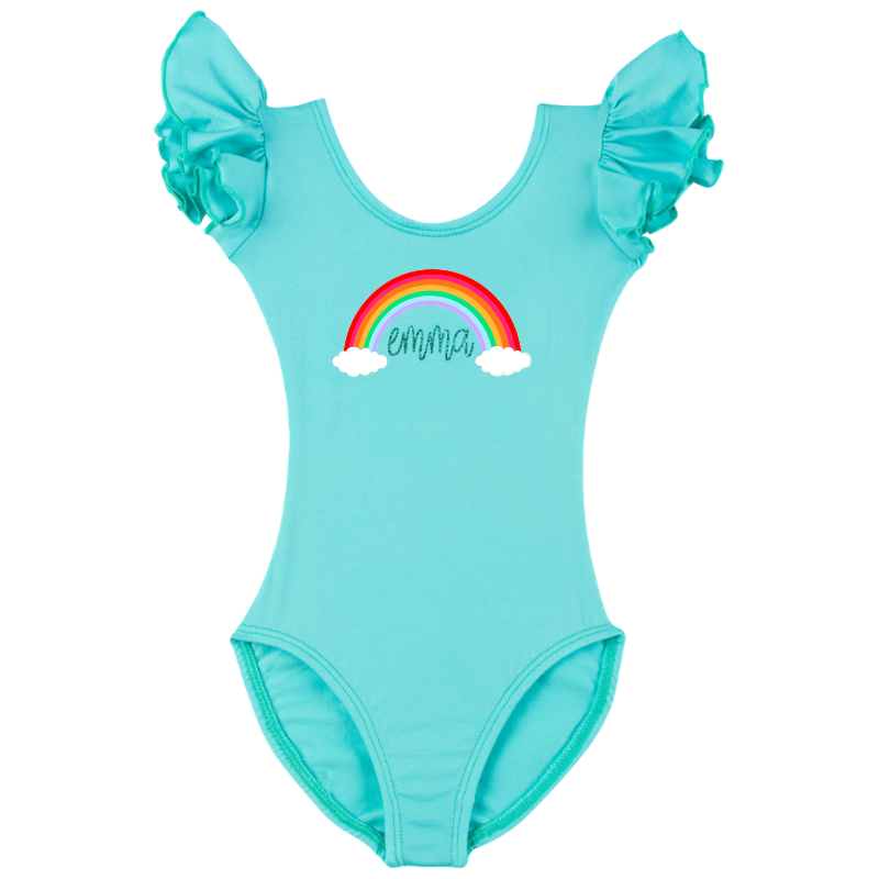Turquoise Personalized Rainbow Leotard